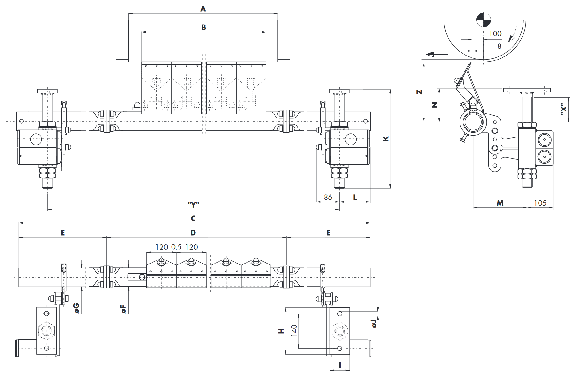 Hlavní stěrač na dopravní pásy HOSCH B6-C